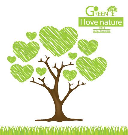 groene boom: Boom ontwerp, ga groen, sparen wereld vectorillustratie Stock Illustratie
