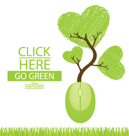 Computer mouse, Tree design, Go green, Save world vector illustration Vector