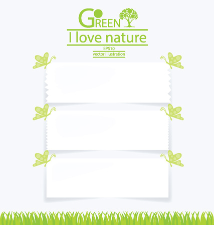 Note paper, Save world, Green concept vector illustration Vector