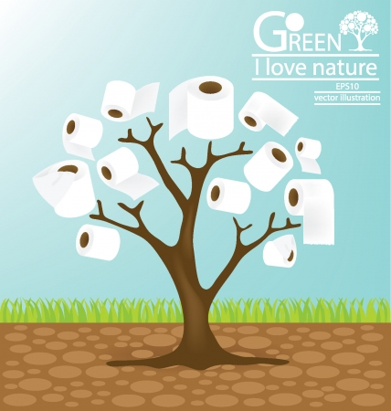 soft tissues: Go green, toilet paper, tree vector illustration