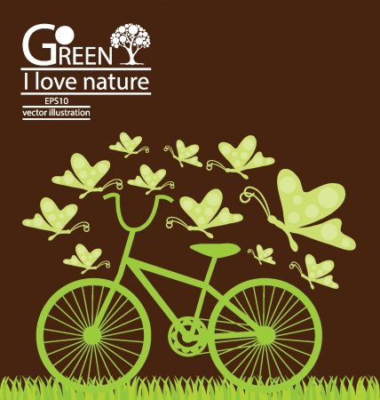 save the earth: Bike, Go green, Save world vector illustration