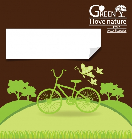 Bike, Paper, Go green, Save world vector illustration