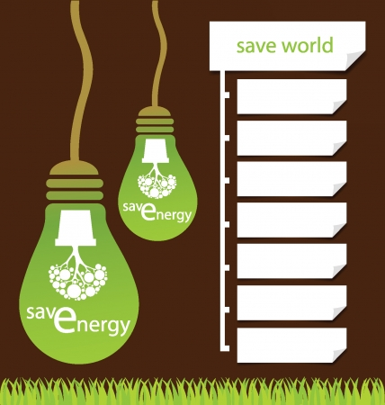 Design Template, Green concepts save energy, save world vector illustration