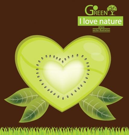 garden stuff: Nature, Kiwi heart vector illustration