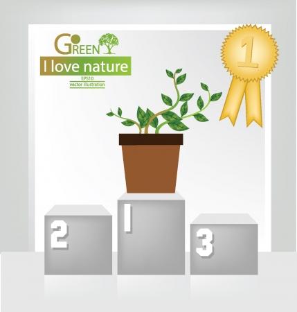 Winner podium, Medals, White backdrop in room, Go green, Save world vector illustration Vector