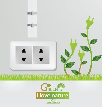 Go green, Save world vector illustration Vector