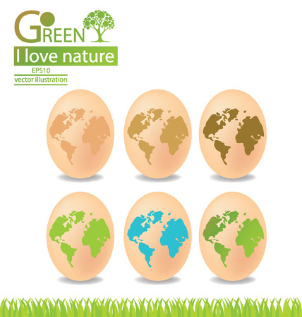 Egg, Green concepts, save world vector illustration Vector