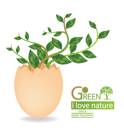 cloven: Go green, Save world vector illustration
