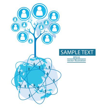 feedback link: Tree design communication concept connection Illustration