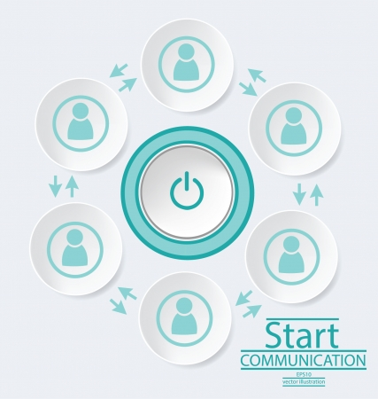 communication concept: Start button, communication concept, connection vector Illustration