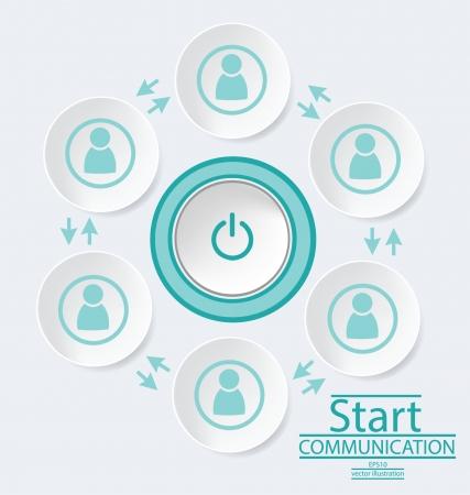 reciever: Start button, communication concept, connection vector Illustration
