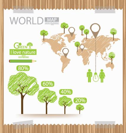 инфографики, экологичности и экономии мировой Иллюстрация