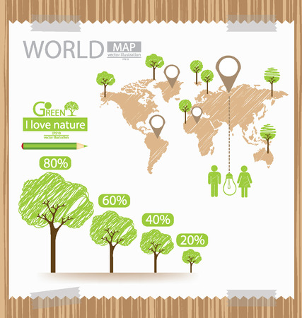 infographic, Go green and Save world Illustration Vector