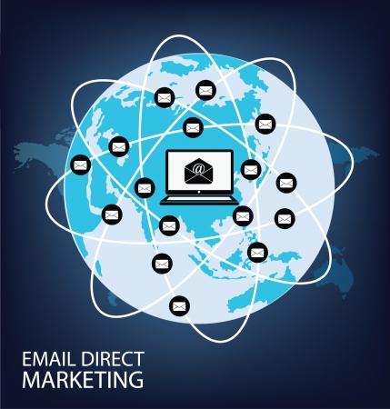 direct mail: email direct marketing Communication concept Illustration Illustration
