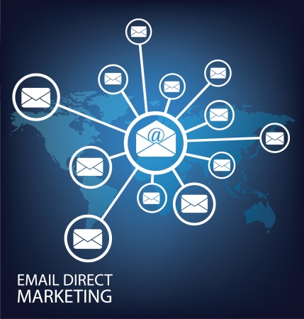intercontinental: email direct marketing Communication concept Illustration Illustration