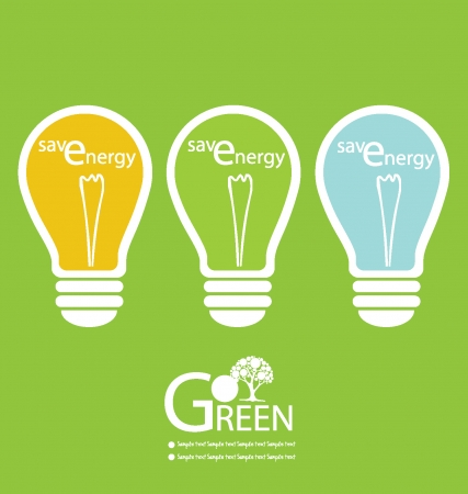 save the earth: Green energy lamps illustration Illustration