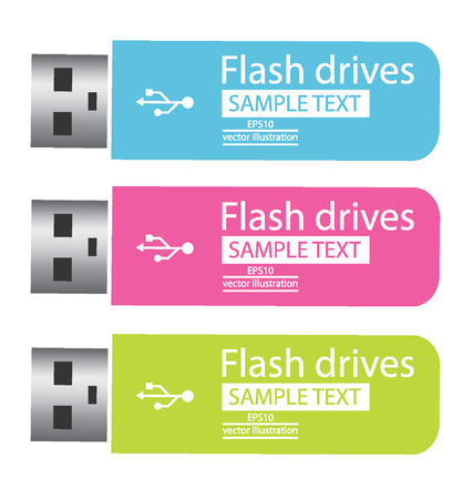 mass storage: Colored USB flash drives vector illustration