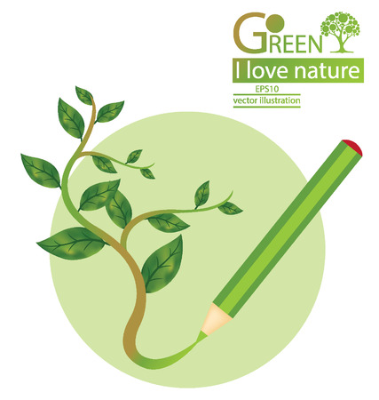 broad leaved tree: Go green, Save world vector illustration