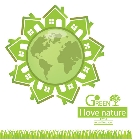 Home, Go green, Save world vector illustration Vector