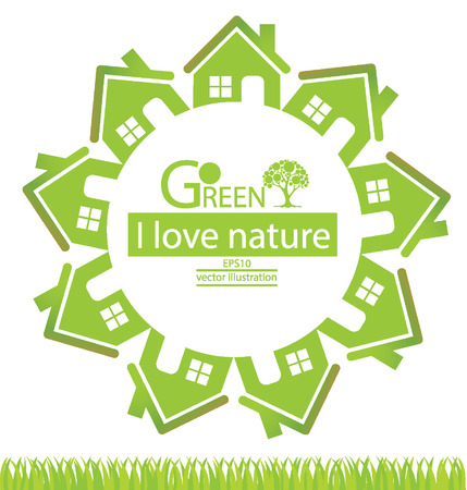natural arch: Home, Go green, Save world vector illustration