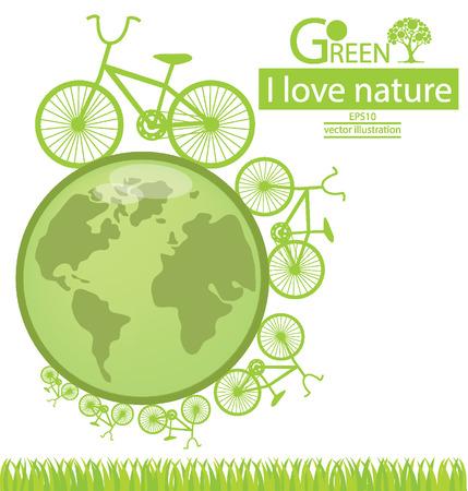 Велосипед, Экологичность, Сохранить мир векторные иллюстрации