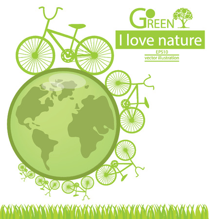 go green: Bike, Go green, Save world vector illustration