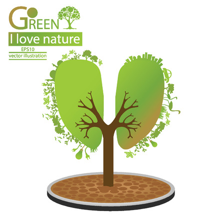 Tree design, Green concepts and save world illustration Vector