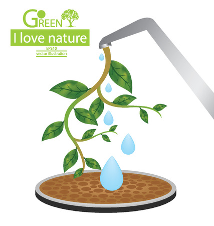 pedestal sink: Green concepts and save world illustration