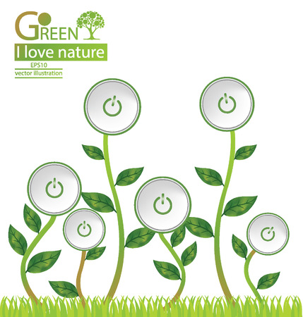 green power: Start button, Tree design, Green energy and save world illustration