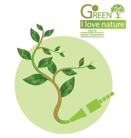 Jack plug, Tree design, Go green and Save world illustration Vector