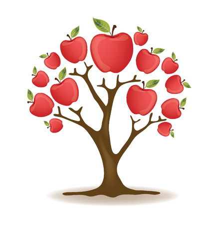 leaved: Apple tree vector illustration Illustration