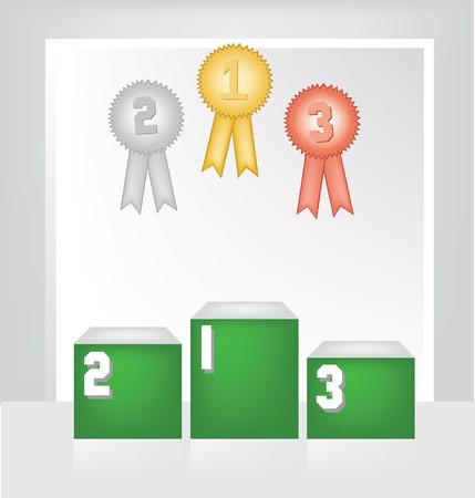 Winner podium, White backdrop in room illustration
