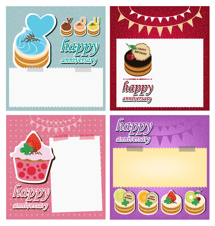 Card, Template design and Cake illustration Vector