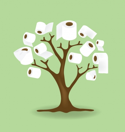 roll paper: toilet paper tree illustration