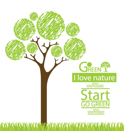 go green: Tree design, Go green, Save world illustration