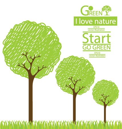 Tree design, Go green, Save world illustration Vector
