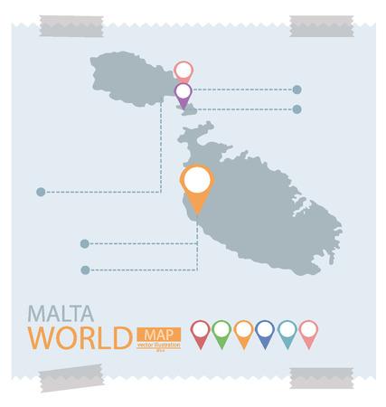 malta cities: Malta Map Illustration