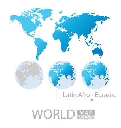Latin afro-Eurasia, World Map vector Illustration Vector