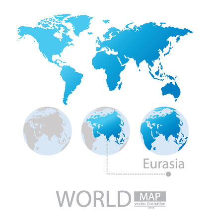 Eurasia, World Map vector Illustration Vector