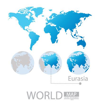 eurasia: Eurasia, World Map vector Illustration