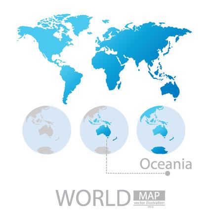 oceania: Oceania, World Map vector Illustration Illustration