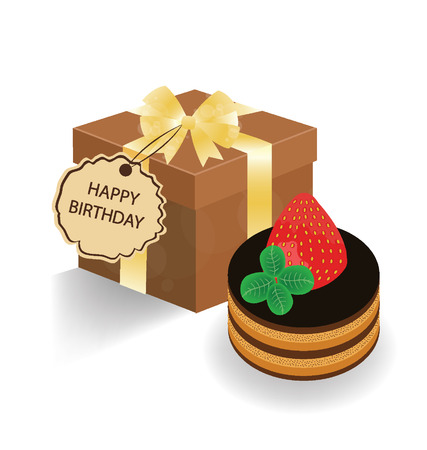 Chocolate cake and gift box on white background Vector