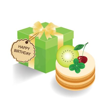 Kiwi cake and gift box on white background  Vector