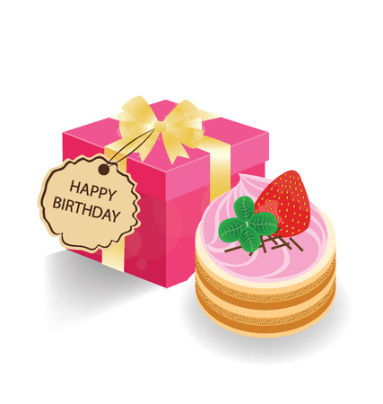Strawberry cake and pink gift box on white background  Vector