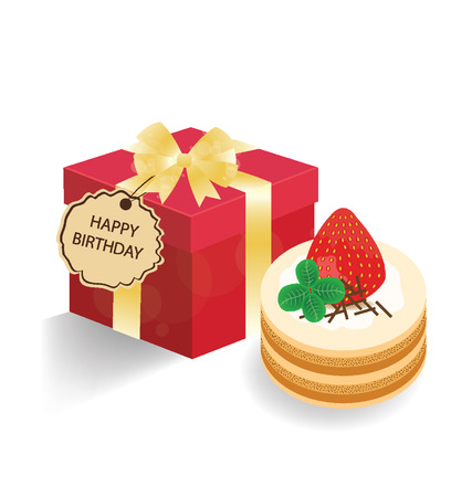 Strawberry cake and red gift box on white background  Vector