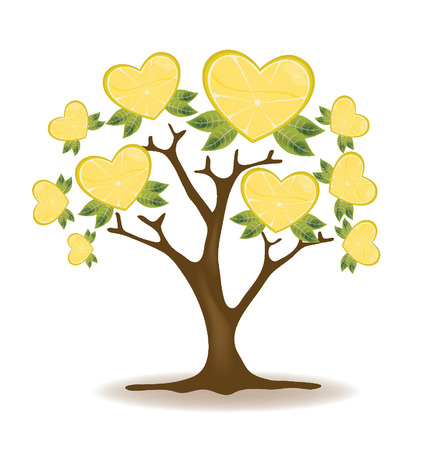 leaved: lemons tree vector Illustration