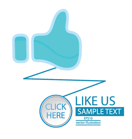 Like button,  Click here button vector illustration  Vector