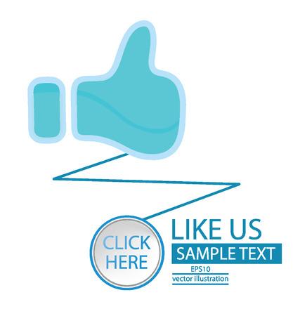 vote here: Like button,  Click here button vector illustration  Illustration