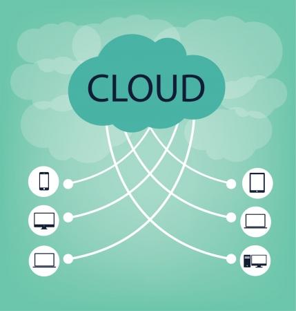 Концепция облачных вычислений векторные иллюстрации