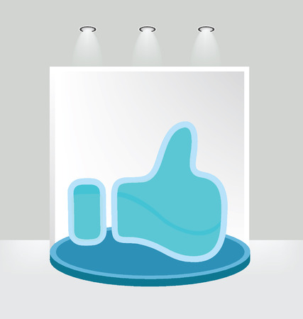 Like button, White backdrop in room vector illustration Vector